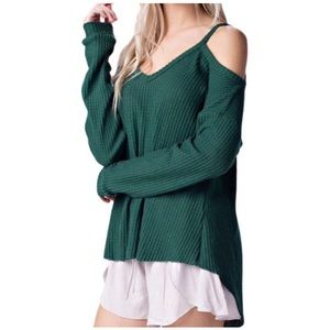 Tops - Green Waffle Knit Top
